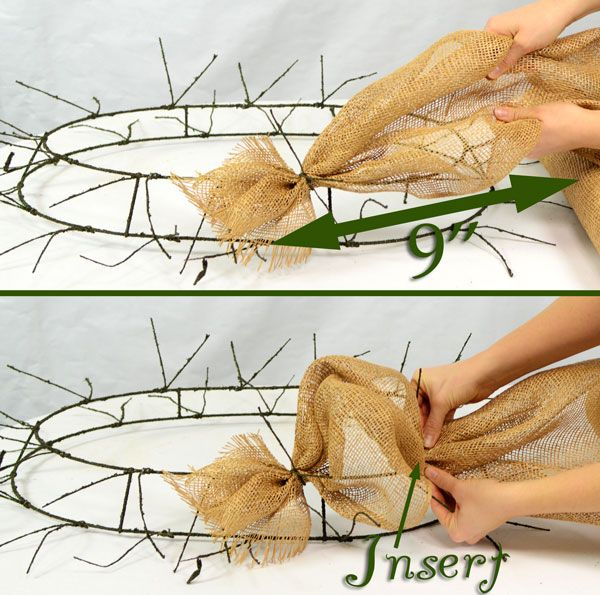 Burlap, Wreath, Deco Mesh, Tutorial, DIY, Twig Works, Natural Decor