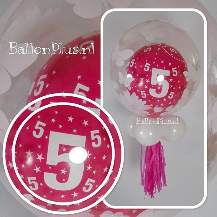 Decoratie Helium Ballon  - met Tassel Fuchia - 5 - Bloemen/Vlinders - van BallonPlus.nl