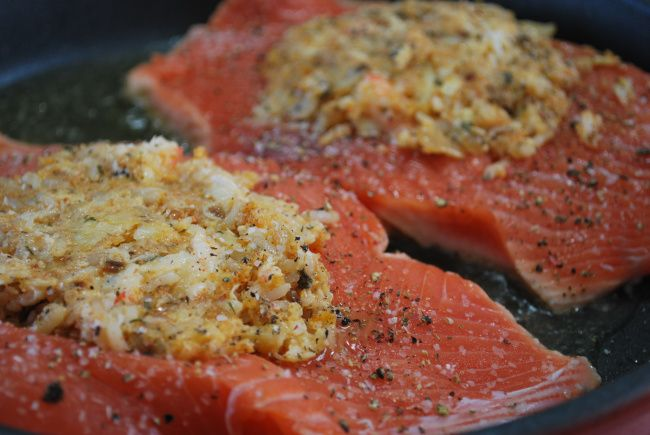 This is based on the real components used in Costco stuffed salmon, except the kind of gross Stove Top Stuffing mix has been replaced with natural ingredients. I love this dish and I know my mom lo...