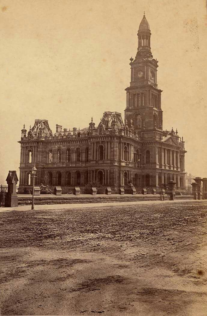 Sydney Town Hall on George St,Sydney under construction in 1875.