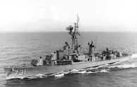 USS Maddox, Mar. 21, 1964, after being refitted with an SPS-40 search radar. (PH2 Antoine/Naval History and Heritage Command)