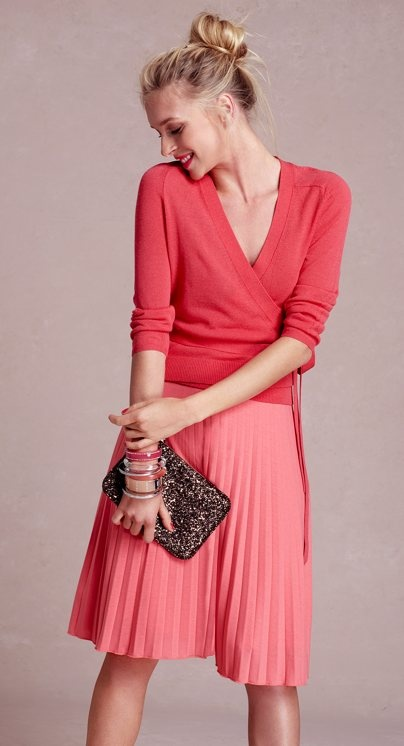 Berrylicious!  Love the pleated skirt & ballet sweater.