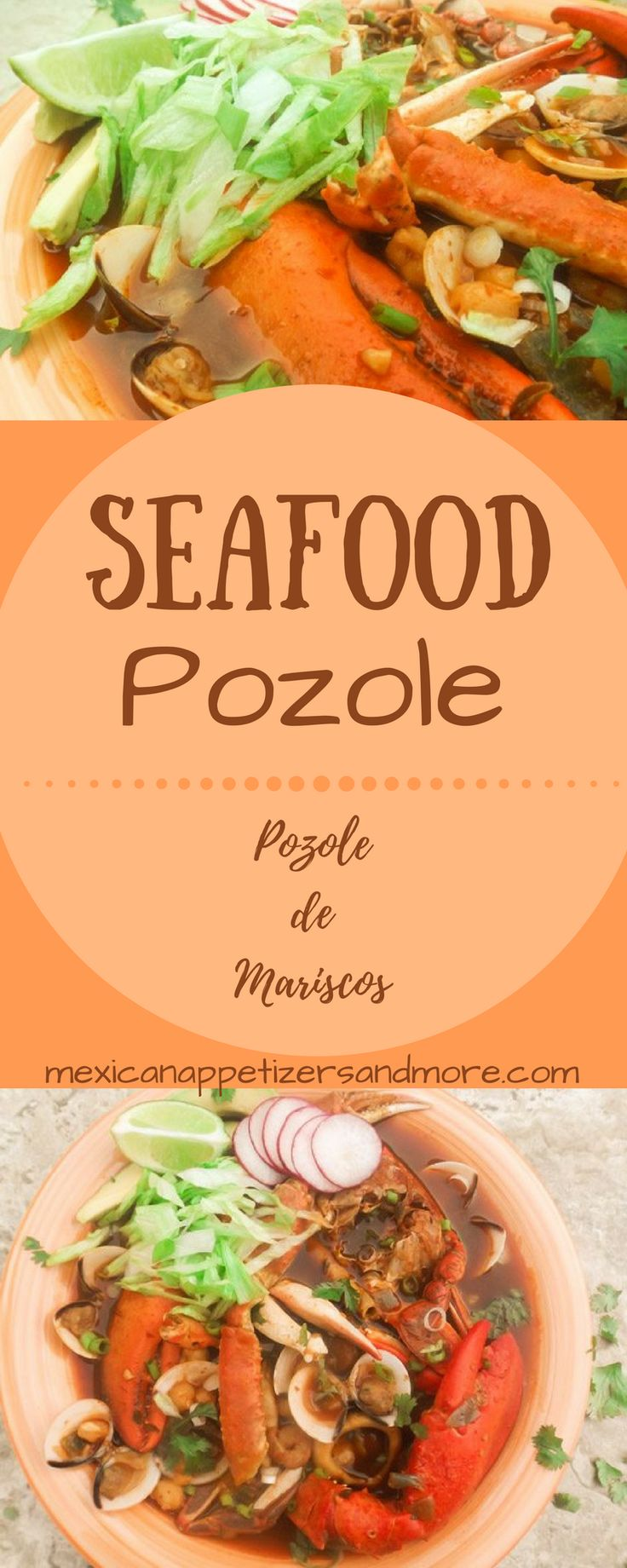 If you love seafood as much as I do then this Pozole de Mariscos recipe is for you! Broth has clams, calamari, scallops, shrimp, snow crab, blue crab, lobster, white hominy and seasoned with Mexican chilis, garlic and spices. Excellent soup! #pozole #pozoledemariscos #seafoodposole #seafoodpozole #seafood #soups | mexicanappetizersandmore.com