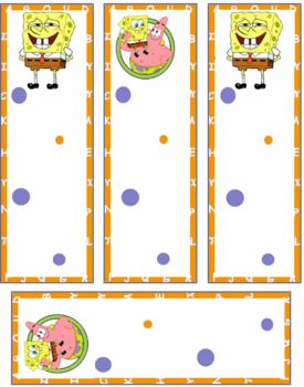 SpongeBob Squarepants Patrick Bookmark Free Printable Kids Children Cartoon Orange Blue
