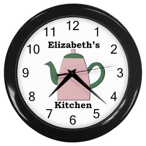 Personalized+Pink+Teapot+Kitchen+Wall+Clock