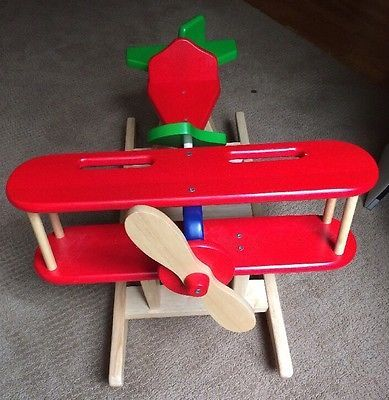 Kids Rocker Wooden Ride On Airplane Rocking Chair Plane