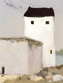 Wu Guanzhong   A simple, primitive, monochromatic painting, slightly mysterious.