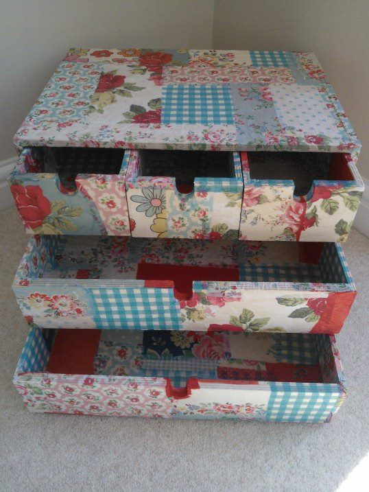 Upcycled desk tidy with decoupage
