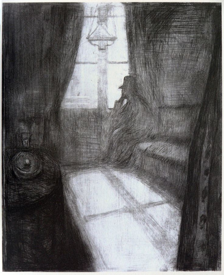 Edvard Munch - Moonlight. Night in St Cloud, 1895 - Drypoint, with open bite and burnishing, on cream wove paper