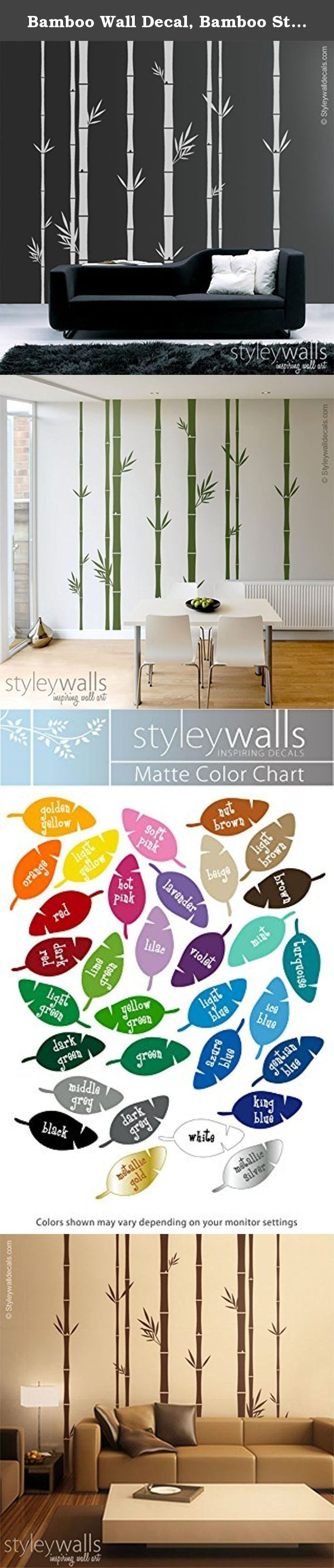 "Bamboo Wall Decal, Bamboo Stalks Wall Decal, Bamboo Wall Sticker for Home Decor Living Room Decor. This set of 8 Bamboo Stalks decal measures 100"" wide by 100"" high comes with leaves as shown on the picture. The decal pack includes 8 bamboo stalks measuring: -2 stalks x 1.2"" wide -2 stalks x 1.8"" wide -2 stalks x 2.4"" wide -2 stalks x 3.5"" wide The stalks and leaves will come in separate pieces. You can rearrange them to fit your space. Each bamboo stalk is divided in 50"" sections for…"