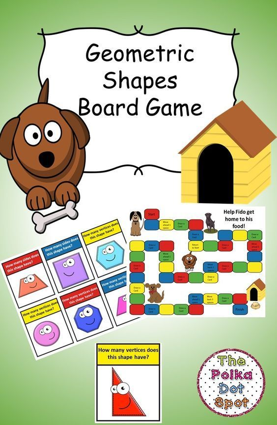 Geometric Shapes Board Game- Practice the number of angles and verticesgra