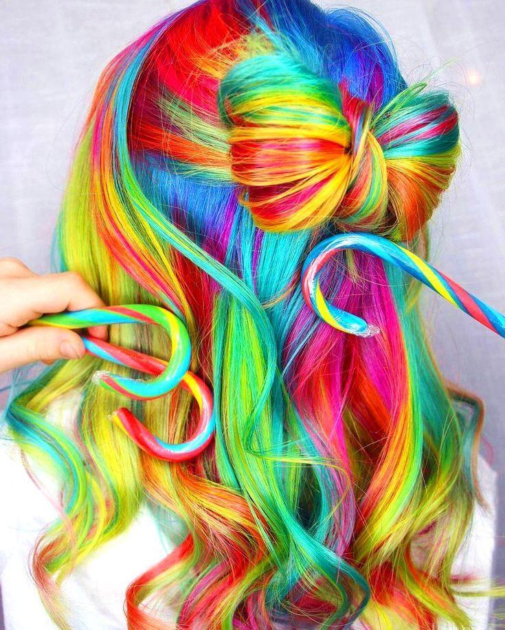 Bunte Regenbogen Haare Versteckte Regenbogenhaare Bob Frisur Regenbogenhaare