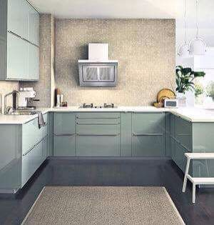 Kallarp ikea cabinets with dark flooring and tan and white accent colors