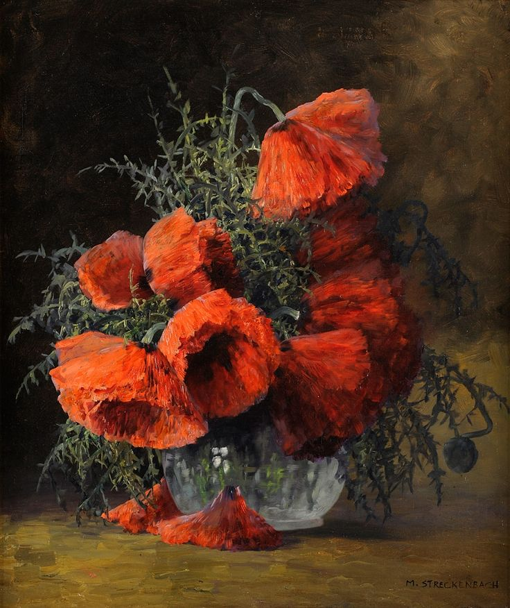 """Max Theodore Streckenbach """"Poppies in a Glass Vase"""""""
