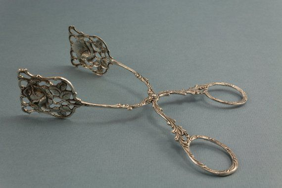 Pastry tongs candy tongs silver Hildesheim Rose pl…
