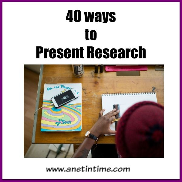 40 different ways that research can be presented.  Variety is good. Work skills important.  http://www.anetintime.ca/2017/09/40-ways-in-which-to-present-research.html