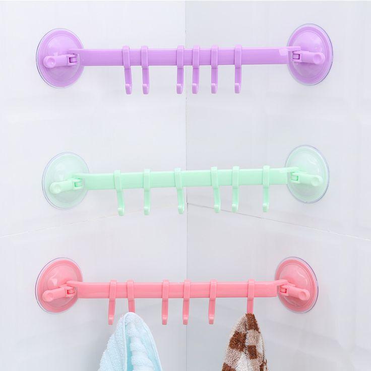 1ピース浴室台所の壁6フック強力な取り外し可能な真空プラスチック吸引カップハンガーホームデコレーション浴室付属品