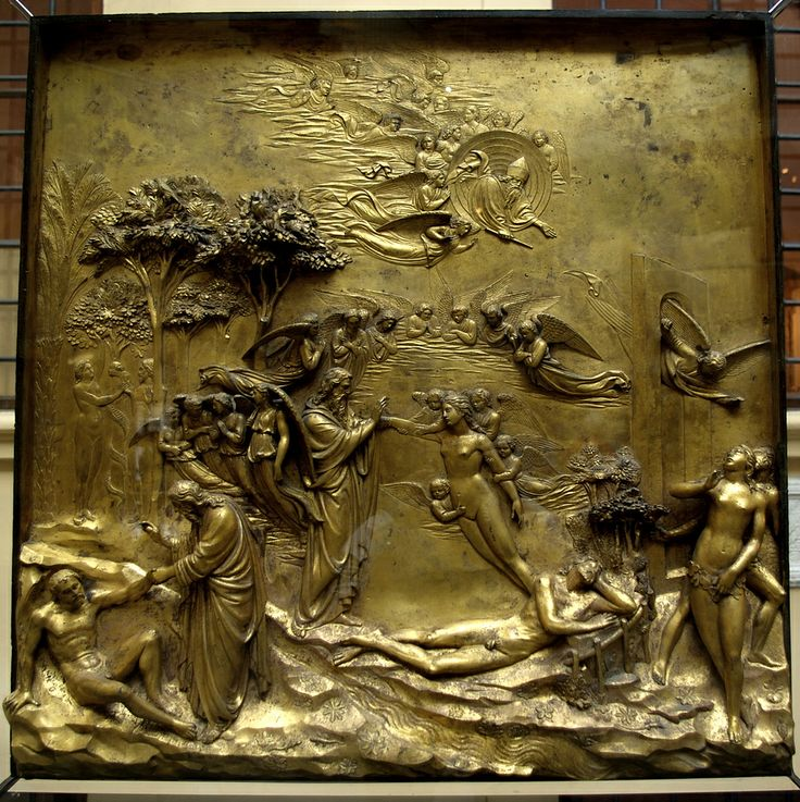 The Story of Adam and Eve (Panel from the East Doors) - Lorenzo Ghiberti.  1425-52.  Baptistery, Florence, Italy.  Original located in the Museo dell'Opera del Duomo, Florence, Italy.