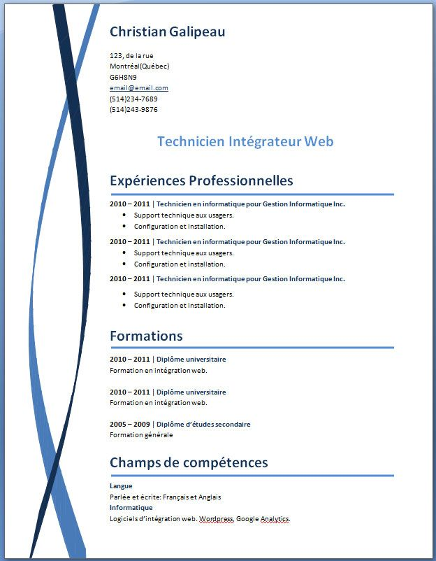resume models in word format