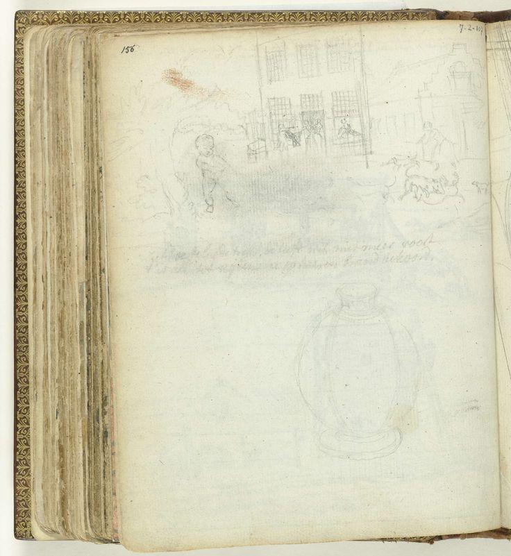 Jan Brandes | Kind voor een huis. Een pot., Jan Brandes, 1770 - 1808 | Potloodschetsen van een kind naast een boom voor een plein met huizen. Een pot. Met opschrift. Onderdeel uit het schetsboek van Jan Brandes, dl. 2 (1808), p. 156.