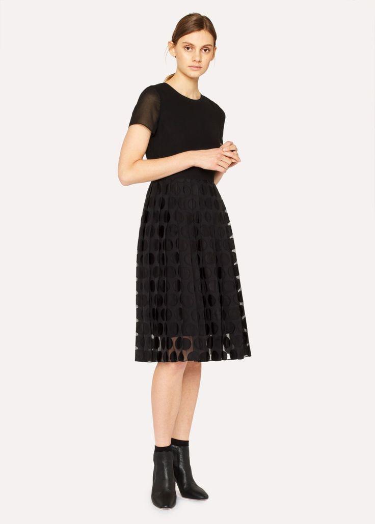 Women's Black Pleated Dress With Polka Dot Devoré - Paul Smith US