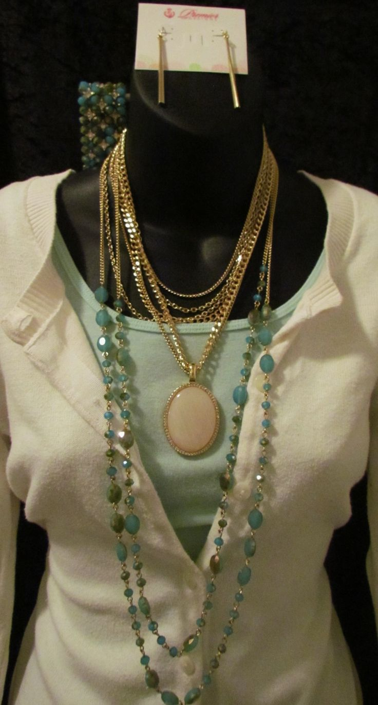 Belize Necklace with Avery Enhancer, Stiletto Earrings, and Belize Bracelet