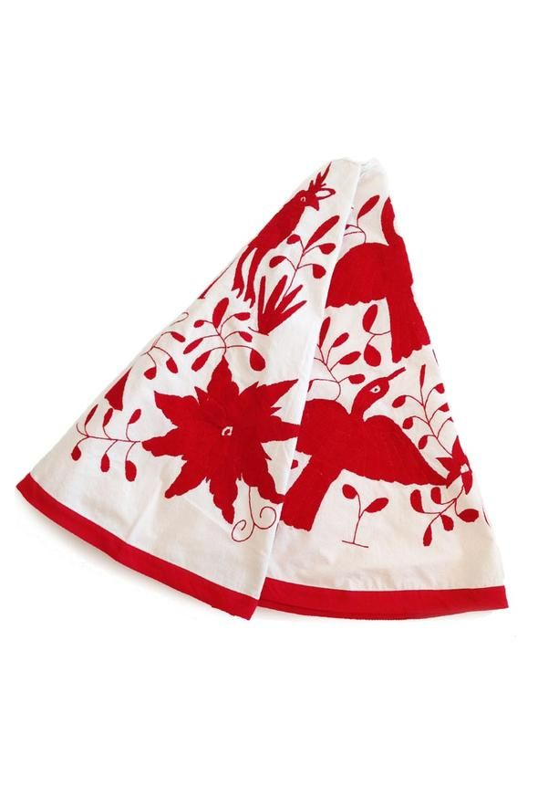 Hand Embroidered Large Otomi Christmas Tree Skirt Red Embroidered Stockings Otomi Embroidery Tree Skirts