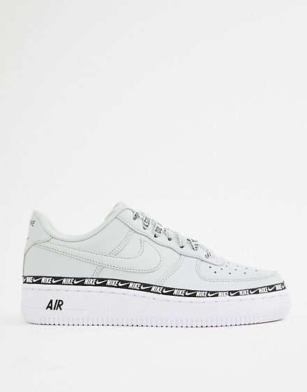 77ebcec05853 Nike Silver Air Force 1 Swoosh Tape Trainers