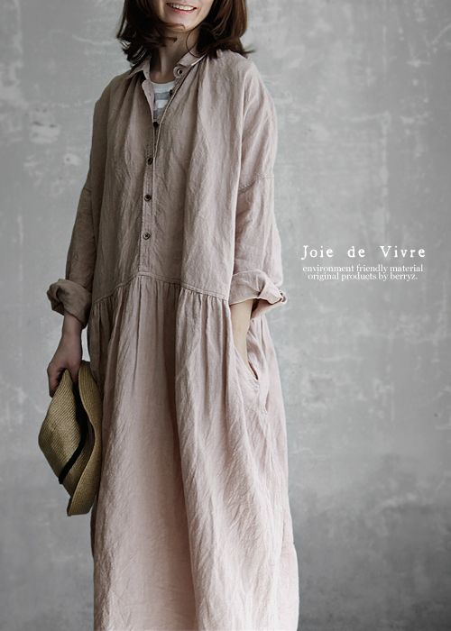 【送料無料】Joie de Vivreフレンチリネンワッシャー スデトンドルワンピース