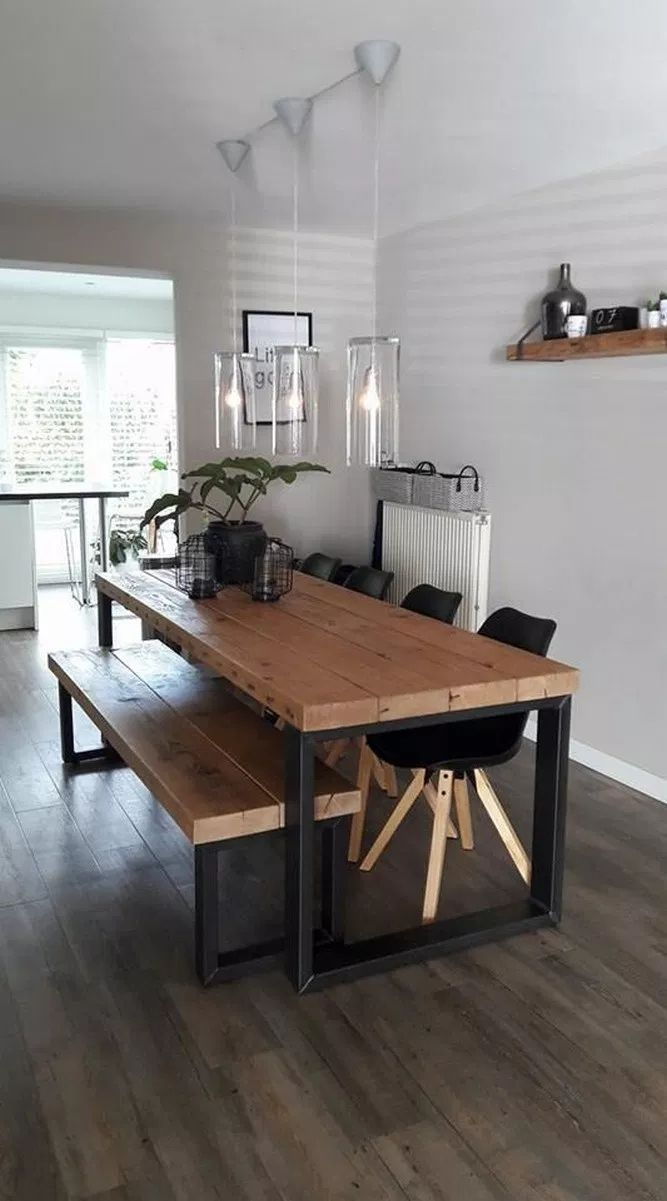 Distressed Wood Table Bench Metal Legs Industrial Modern Design Dining Table With Bench Metal Dining Table