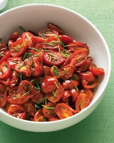 Oven Roasted Grapes Tomatoes w/ Chives: Chive Recipes, Side Dishes, Olives Oil, Roasted Tomatoes, Ovens Roasted Grape, Vegetables Side, Grape Tomatoes, Veggies Side, Weeknight Meals