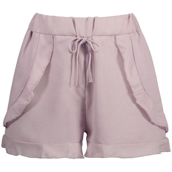 Elastic Waist Chiffon Ruffled Shorts (1785 DZD) ❤ liked on Polyvore featuring shorts, elastic waist shorts, frill shorts, ruffle trim shorts, elastic waistband shorts and frilly shorts