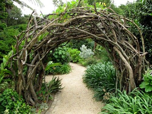 Wood garden arch made from salvaged limbs