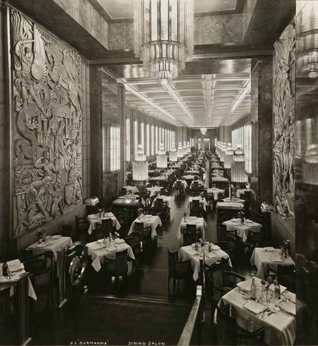 "SS Normandie Dining Room...all Lalique, Christofle, and Haviland...who says the French can't do it right...""the most beautiful ship in the world..."""