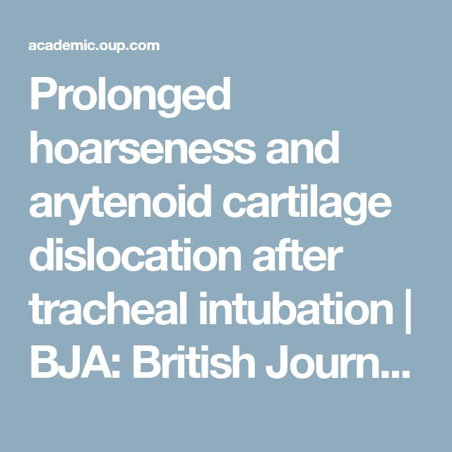 Prolonged hoarseness and arytenoid cartilage dislocation after tracheal intubation | BJA: British Journal of Anaesthesia | Oxford Academic