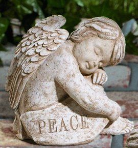 Garden Angel Statue Cherub Peace From Grasslands by Grasslands Road. $24.99. Kraft paper box. This cherub's message: Peace. See our other 5 coordinating cherubs. Suitable for indoor or outdoor use. Add a sweetness to your garden with these darling cherubs. Cement resin mix makes each cherub durable in your garden or adorable in your home. Each angel features an inspirational message that is especially nice in a serenity garden. This listing is for one angel. V...
