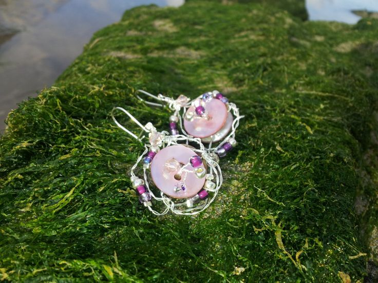 Vintage Rose Beaded Wire Earrings by OnenJewellery on Etsy, £15.00