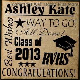 Graduation Decals - Vinyl Sticker Decal designed to fit a tile - makes a PERFECT graduate gift!