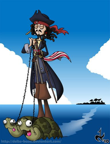Captain Jack Sparrow escapes with the help of sea turtles. Fan Art. Pirates!