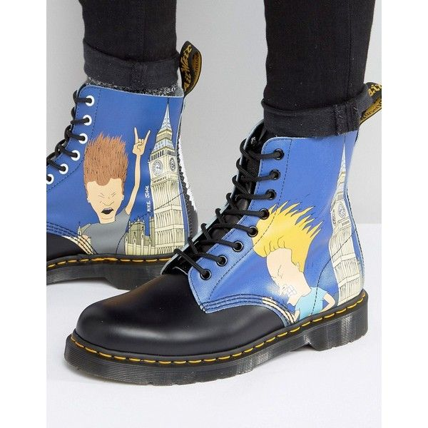 Dr Martens 1460 Pascal Beavis & Butthead Print 8 Eye Boots ($180) ❤ liked on Polyvore featuring men's fashion, men's shoes, men's boots, blue, mens lace up shoes, dr martens mens shoes, mens blue boots, mens leather boots and dr martens mens boots