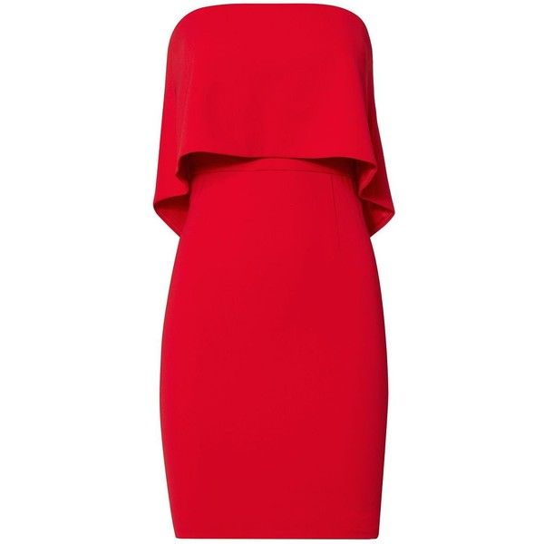 Jay Godfrey Women's Vienna Strapless Dress ($179) ❤ liked on Polyvore featuring dresses, vestidos, red, red mini dress, zip back dress, lining dress, double layer dress and back zipper dress