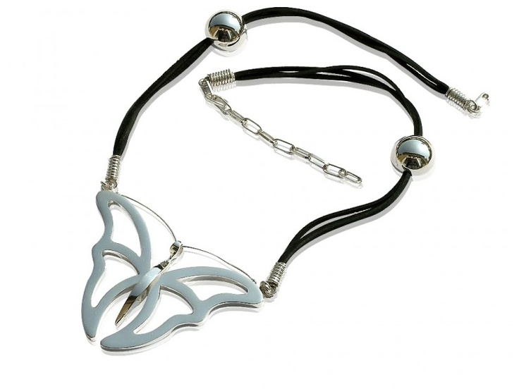 Silver handmade necklace (with prolongation) - BUTTERFLY