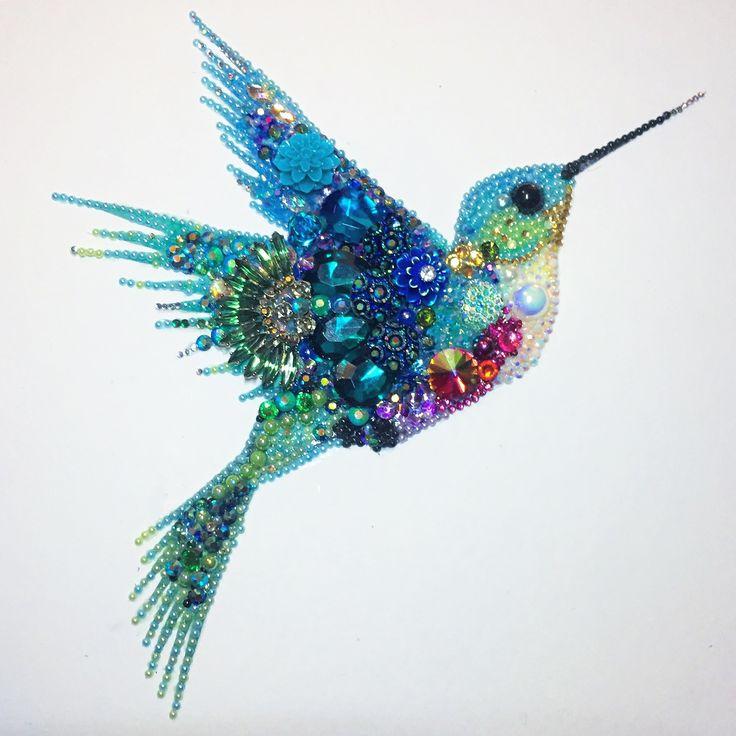 Humming bird mixed media and button art