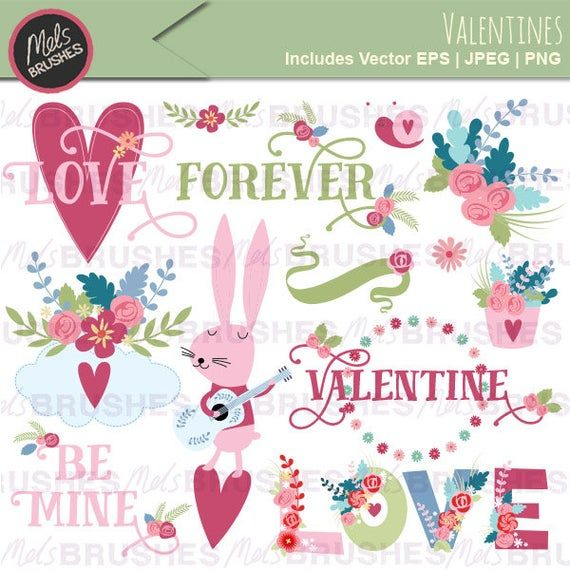 Pretty Valentines Day Png Vector Digital Clipart Word Art Etsy In 2021 Valentines Illustration Valentines Day Clipart Valentine Clipart