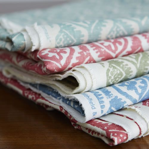 Peggy Angus' Small Damask Linen in Aqua, Pink, Green, Deft Blue and Red. Blithfield & Company Ltd - Somerton Collection