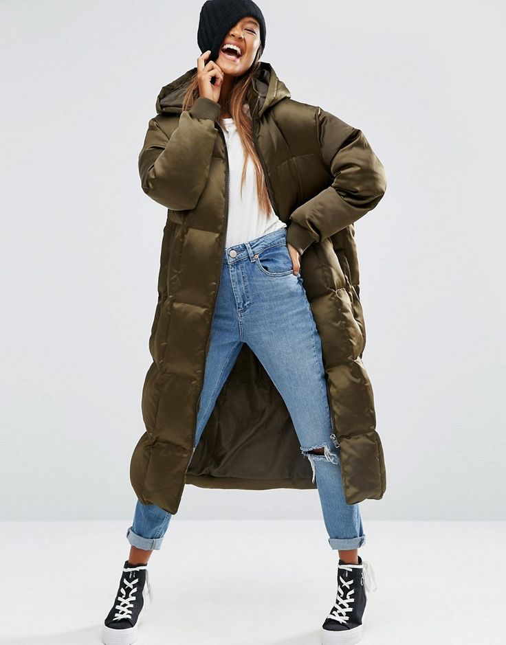 Image 1 of ASOS Padded Jacket in Midi Length