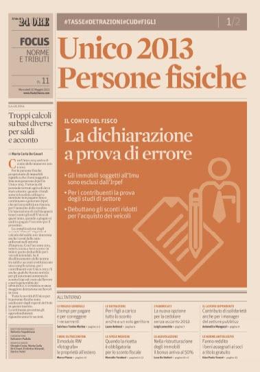 Focus de Il Sole 24 Ore- Unico Persone Fisiche - 15.05.2013  Italian | PDF | 24 Pages | 17 MB