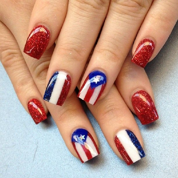 Red, White & Blue Nails - Photo taken by phuong luu (thenailboss)