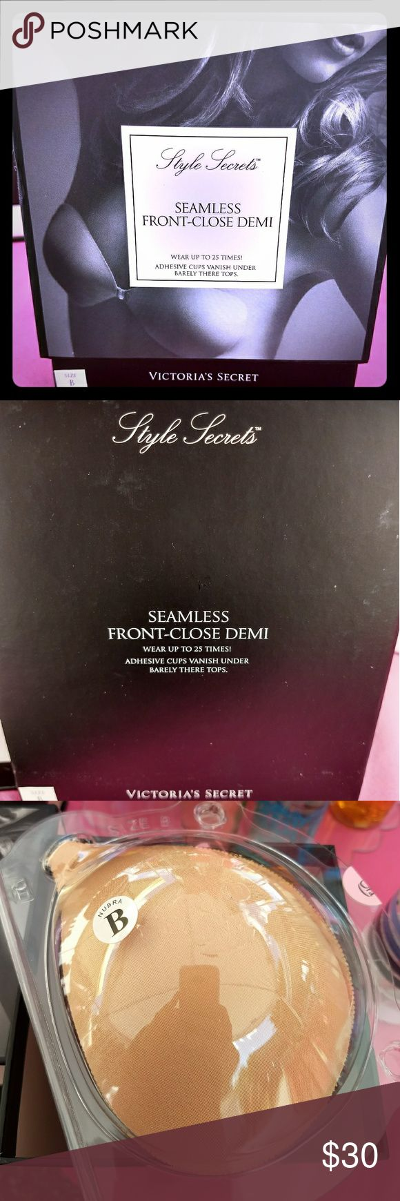 Victoria's Secret Style Secrets Seamless Front Close Demi. Adhesive cups vanish under barely there tops. Size B. Color Nude. Wear up to 25 times! Victoria's Secret Intimates & Sleepwear Bras