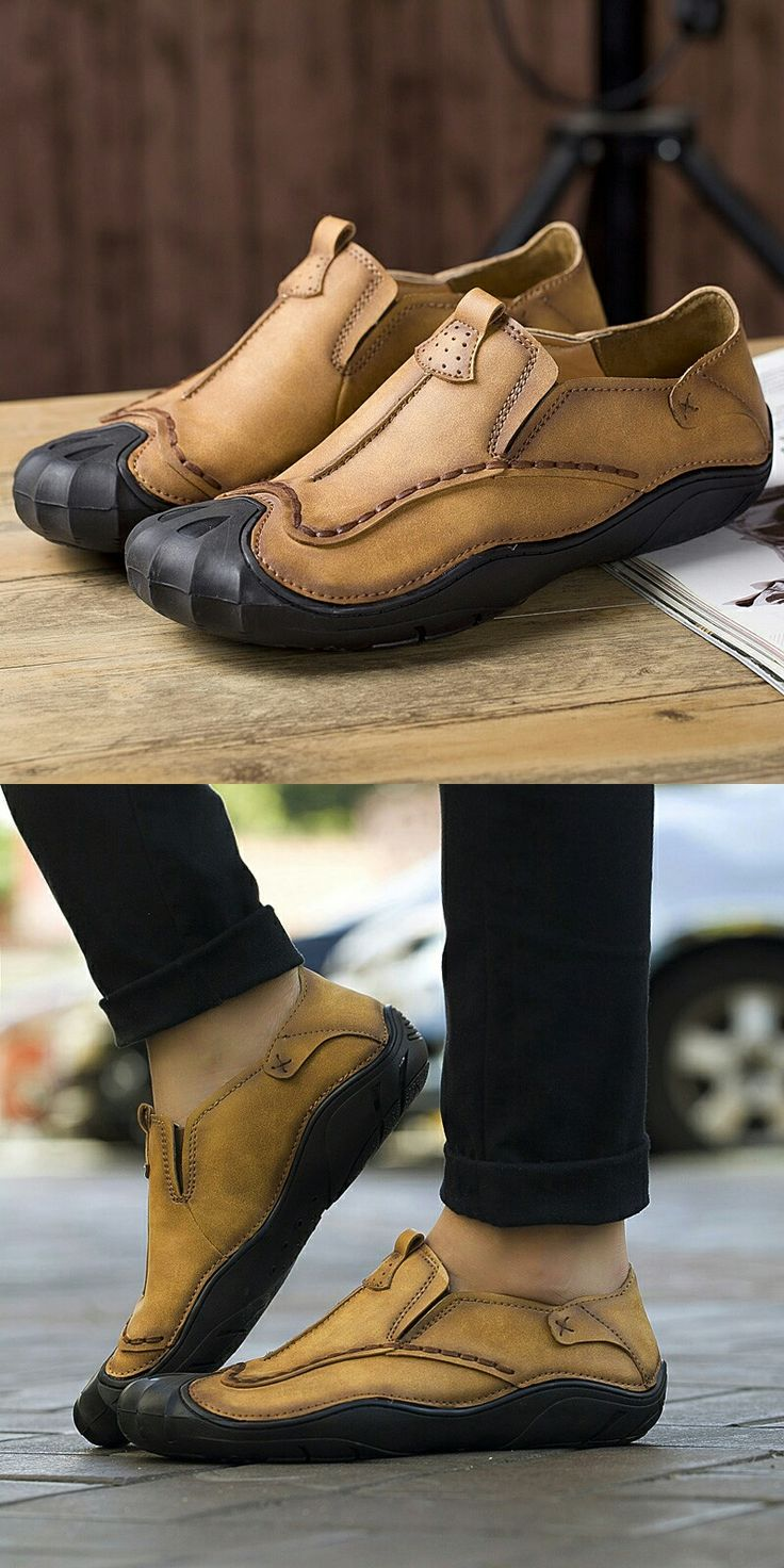 Amazon Handmade Summer Men's Leather Shoes Hot Design Casual Slip On Loafers Stitching Shoes
